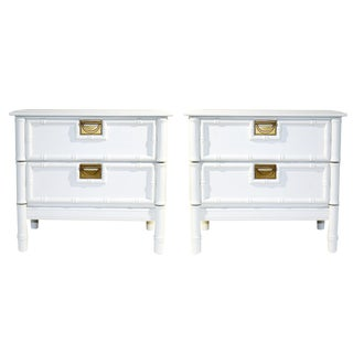 1970's White Faux-Bamboo Nightstands- a Pair