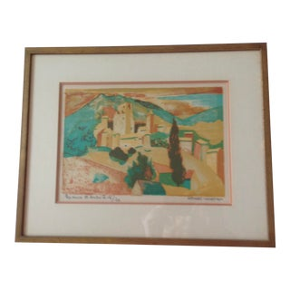 1973 French Scene Lithograph Numbered 16/20 by Georges Lambert, Framed For Sale