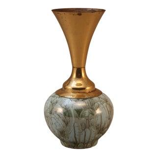 Vintage Brass & Ceramic Vase For Sale