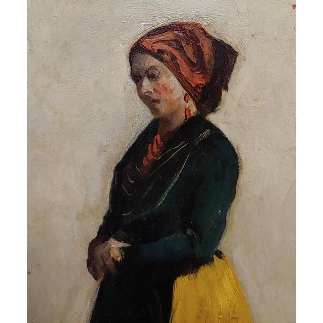 Leon Bonnet 19th Century Portrait of an Italian Woman Oil Painting C. 1871 For Sale - Image 4 of 10
