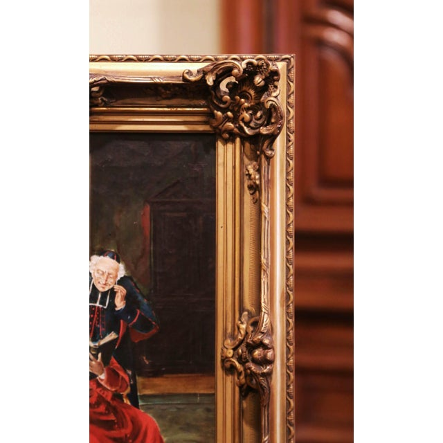 Late 19th Century 19th Century French Priest Oil Painting in Carved Giltwood Frame Signed M. Valle For Sale - Image 5 of 9