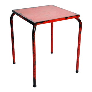 1960s French Rustic Red Café Table For Sale