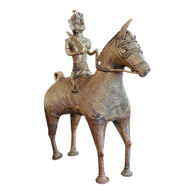 Antique Indian Dhokra Horse and Rider Sculpture For Sale