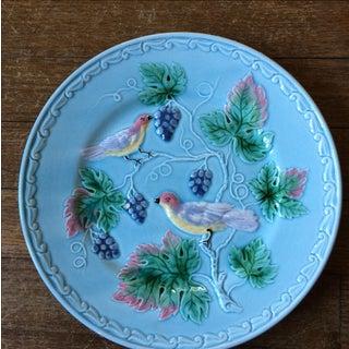 Blue German Birds & Grape Motif Majolica Plate Preview