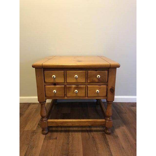 Antique Ethan Allen Antiqued Pine Nightstand For Sale In Detroit - Image 6 of 6
