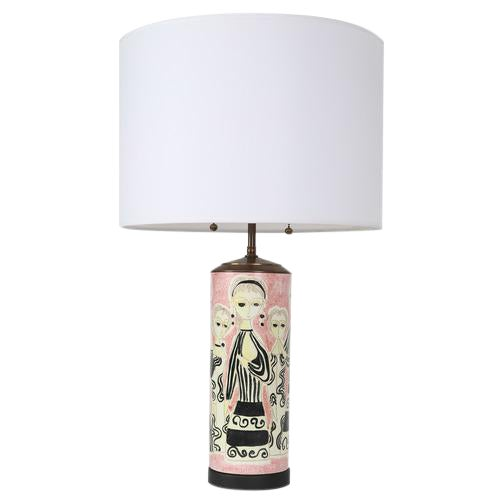 PARTY DRESS CERAMIC TABLE LAMP BY MARCELLO FANTONI For Sale