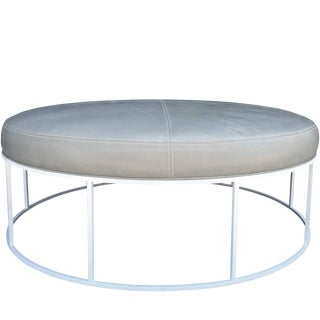 Stunning Custom Designed Round Ottoman With White Lacquered Base and Leather Top For Sale