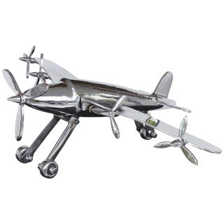 American Art Deco Model Airplane With Articulated Landing Wheels and Propellors For Sale