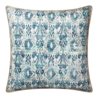 Distressed Blue Ikat Outdoor Pillow For Sale