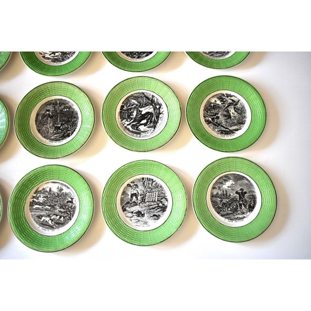 Antique French Digoin & Sarreguemines Hunting Scenes Plates - Set of 12 For Sale - Image 9 of 13