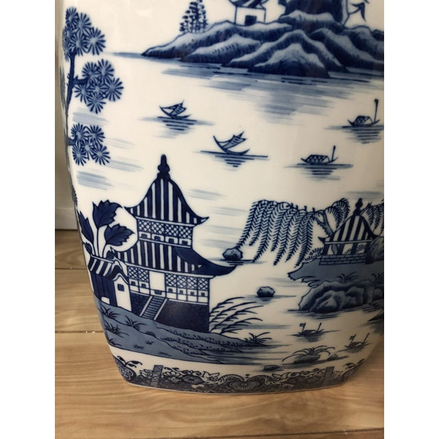 White 1980s Chinoiserie Blue & White Pagoda Garden Stool For Sale - Image 8 of 9