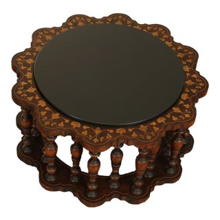 Moorish Style Vintage Marquetry Inlaid Round Slate Top Coffee Table by Century For Sale