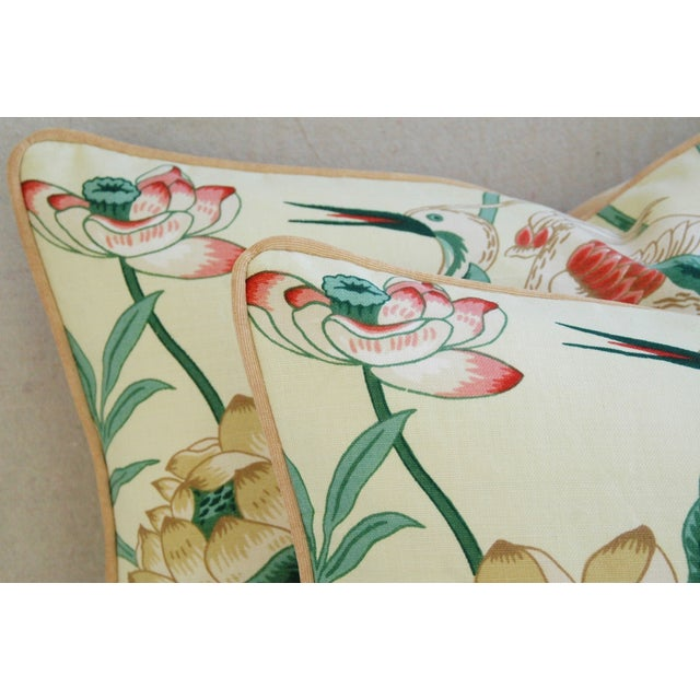 Egrets & Lotus Blossom Pillows - a Pair - Image 8 of 11
