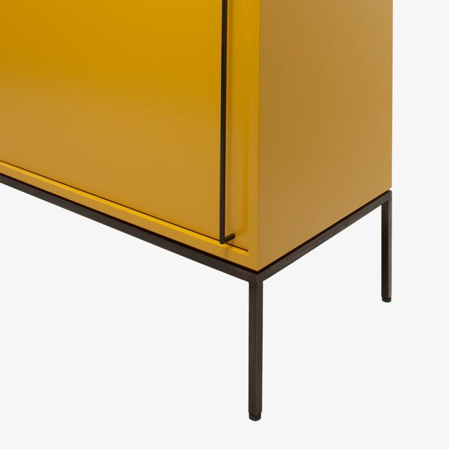 Metal Customizable Re: 379 Grass Green Lacquered Credenza on Brass base For Sale - Image 7 of 12