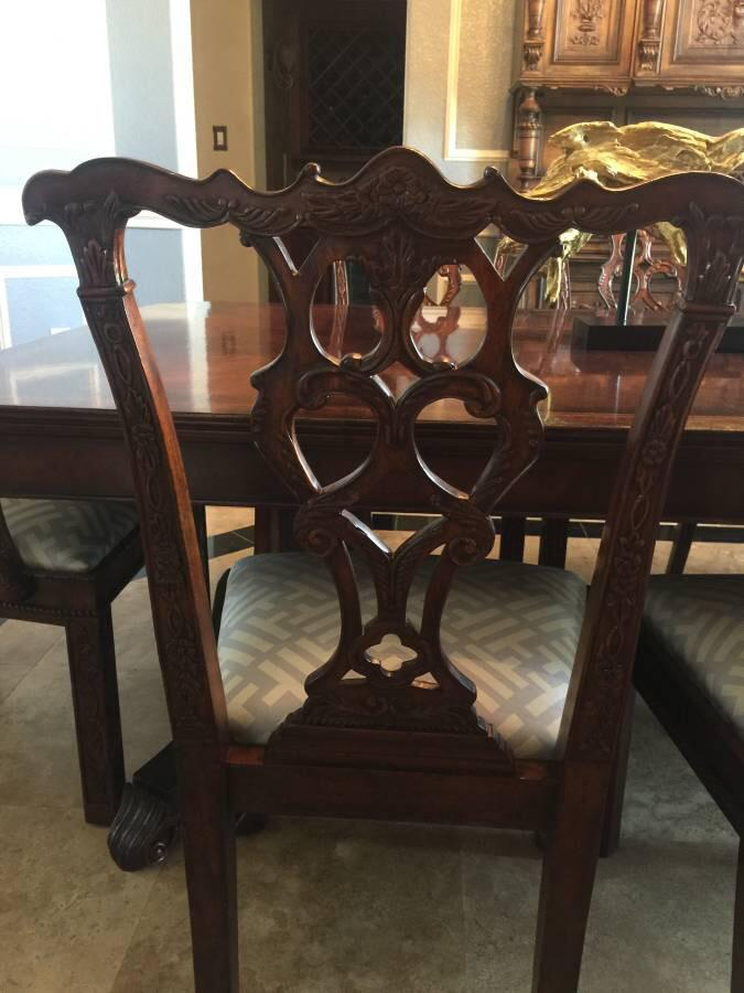 2010s Jonathan Charles Buckingham Antique Mahogany Dining Table U0026 Chairs  Set For Sale   Image 5