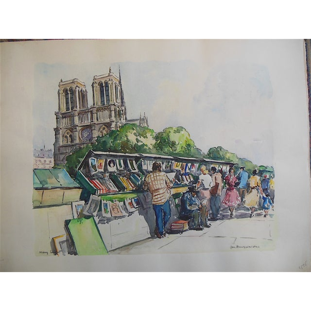 Large Original Mid Century Paris Watercolor - Image 3 of 4