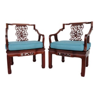 Vintage Mid Century George Zee & Co. Intricately Carved Chairs- A Pair For Sale