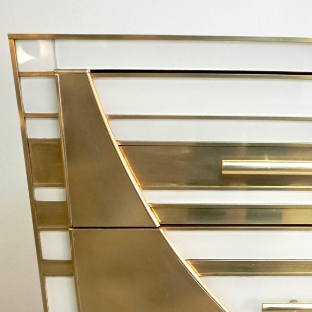 Contemporary Italian Gold Brass and White Cream Glass Chests Side Tables - a Pair For Sale In New York - Image 6 of 9