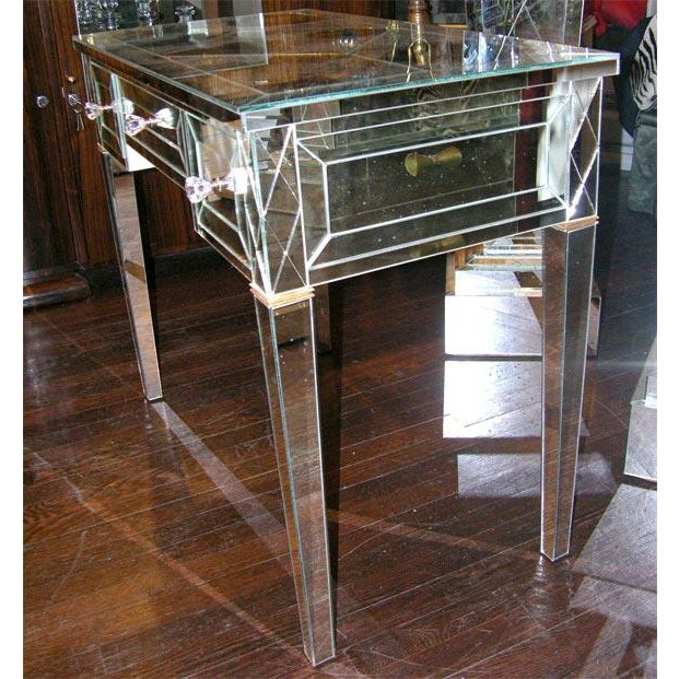 Traditional Custom Mirrored Writing Desk For Sale - Image 3 of 5