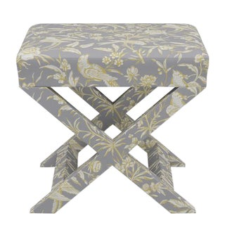 Scalamandre X Bench in Grey Aviary For Sale