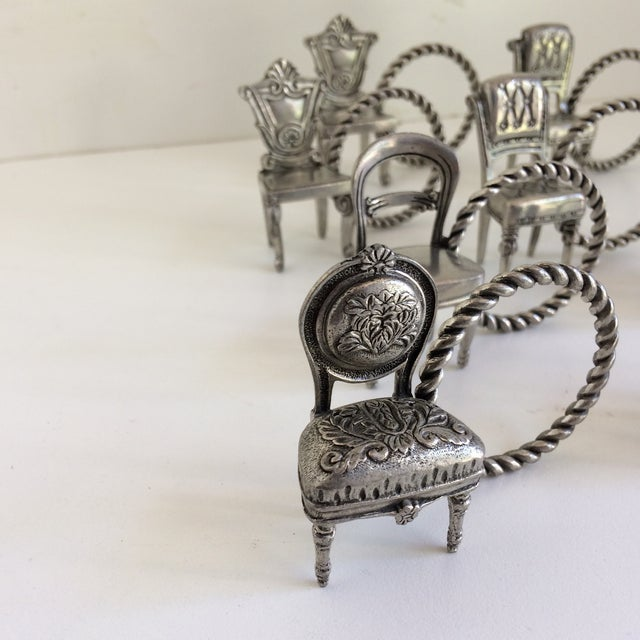 Traditional 8 Vintage Pewter Victorian Chair Napkin Rings For Sale - Image 3 of 12