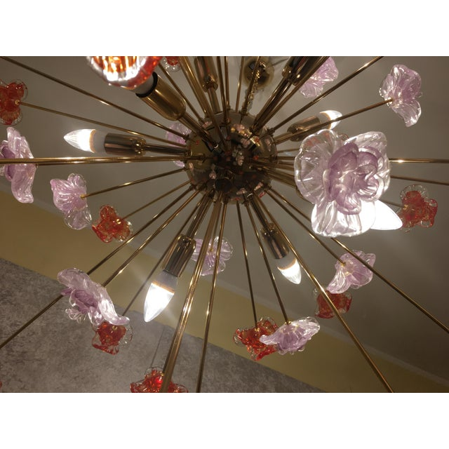 Murano Glass Flowers Chandelier For Sale - Image 6 of 10