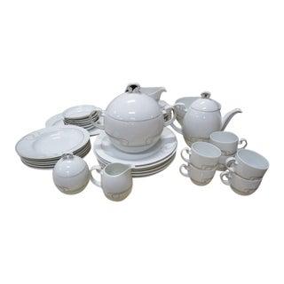 Vintage 1980s Mid-Century Modern Rosenthal Studio Line Asymmetria White and Silver Dinnerware - 39 Piece China Set For Sale