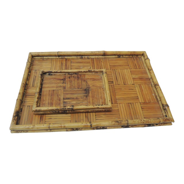 Set of Two Faux Tortoise Bamboo Serving Trays For Sale