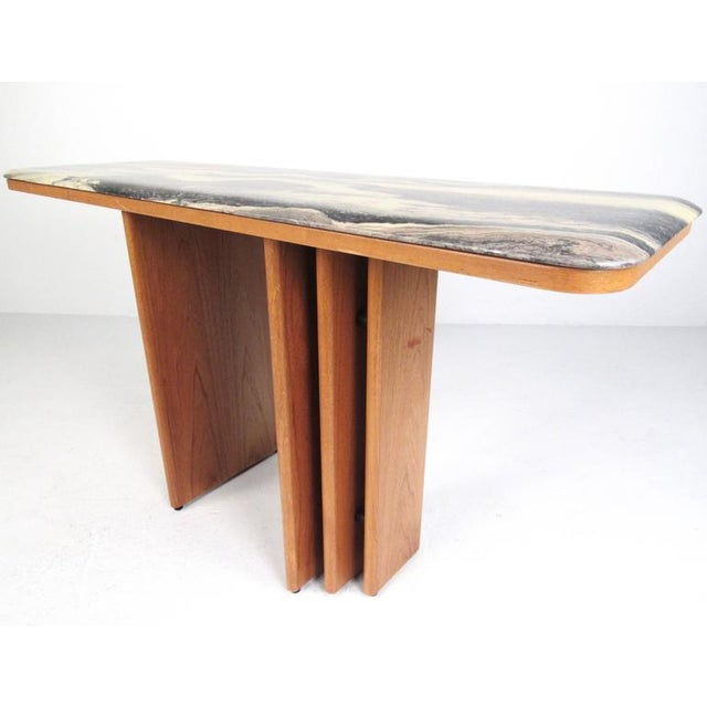 Mid-Century Teak and Marble Console Table by Bendixen Design For Sale - Image 4 of 11