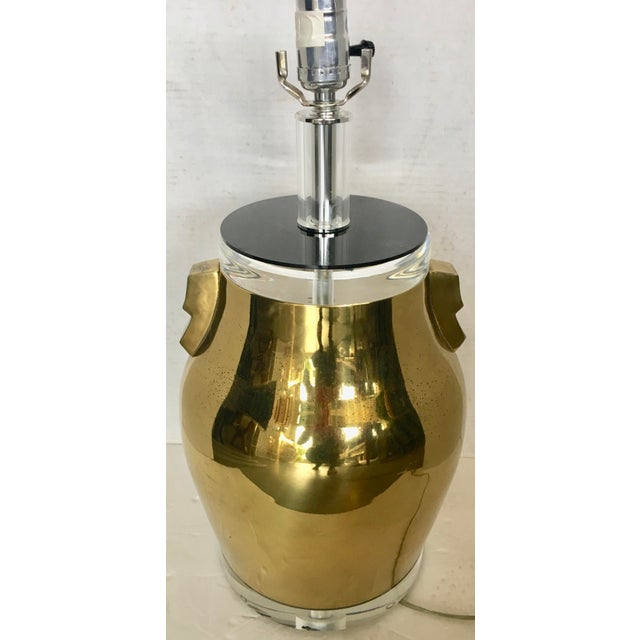 Mid-Century Modern Bauer Brass & Lucite Table Lamp For Sale - Image 3 of 8