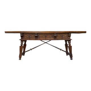 Spanish Bench or Low Console Table With Carved Drawers and Iron Stretcher For Sale