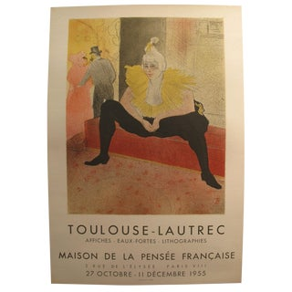 1955 Original French Toulouse-Lautrec Exhibition Poster - Maison De La Pensee Francaise For Sale