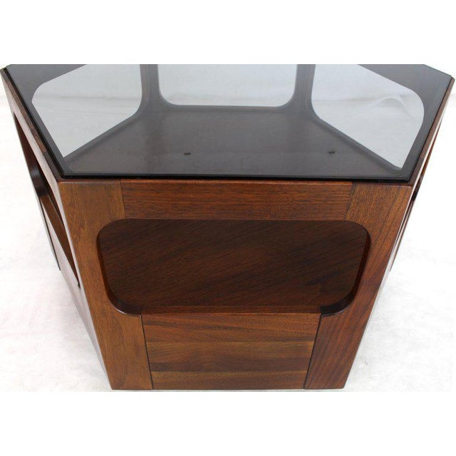 Mid-Century Modern Solid Oiled Walnut Fitted Smoked Glass Top Hexagon Center Side End Table For Sale - Image 3 of 8