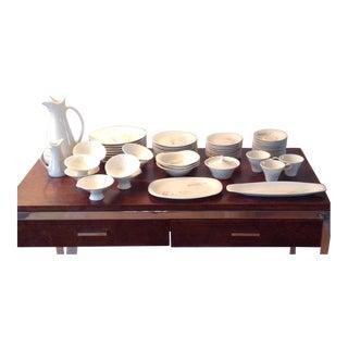59 Piece Iroquois China Ben Siebel Design Impromptu Jardinieres Flower Baskets, Midcentury Modern 1950s Dinnerware Set For Sale