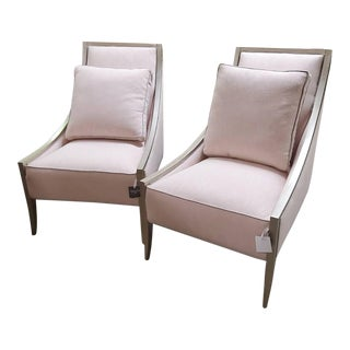 Fine Line Blush Upholstered Sloping Accent Chair Set in Brushed Silver Leaf For Sale