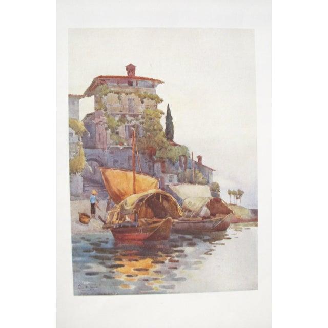 Art Nouveau 1905 Original Italian Print - Italian Travel Colour Plate - Fishing Boats, Lake Como For Sale - Image 3 of 3