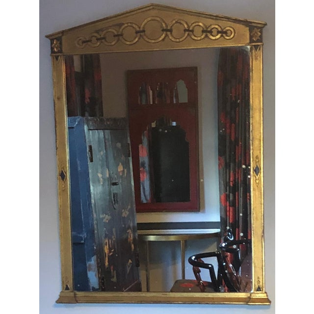 Mid Century Deco Hollywood Regency Gold and Black Wood Wall Mirror For Sale In Los Angeles - Image 6 of 7