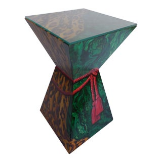 Hand Painted Leopard & Malachite Table For Sale