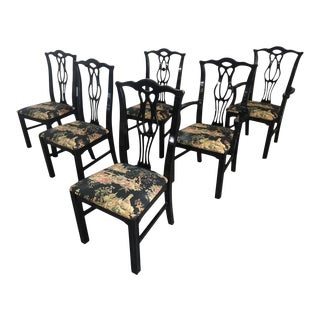Black Chinoiserie Chippendale Dining Chairs - Set of 6 For Sale