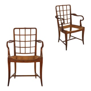 Pair of Viennese Modern Sculpted Cherry Antique Arm Chairs, Austria Circa 1920-30 For Sale