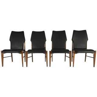 Mid-Century Modern High Back Dining Chairs in Walnut by Lane - Set of 4 For Sale