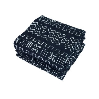 """Superb African Bogolan Black & White Mud Cloth Textile 63 """" by 43 """" Pair For Sale"""