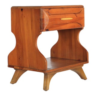 1950's Shockey Nightstand Sculpted Pine For Sale
