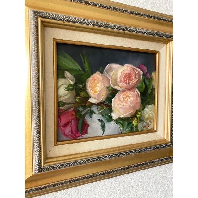 Oil Painting of Garden Roses - Framed For Sale - Image 9 of 10