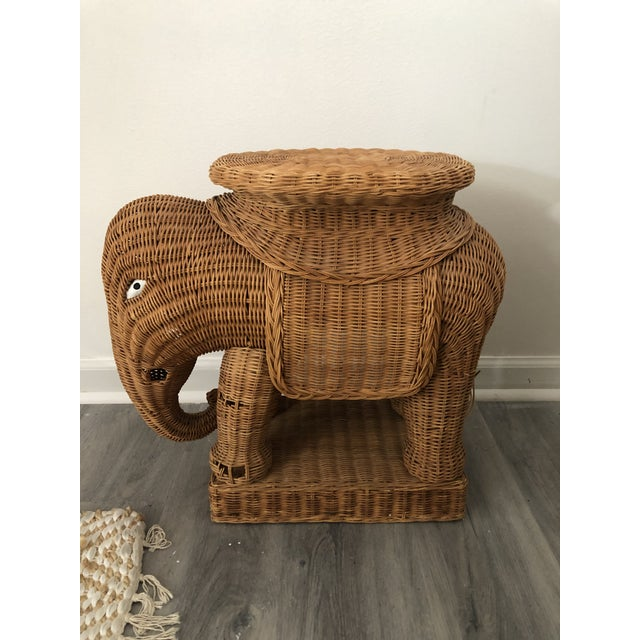 1960s Wicker Elephant Side Table For Sale - Image 6 of 6