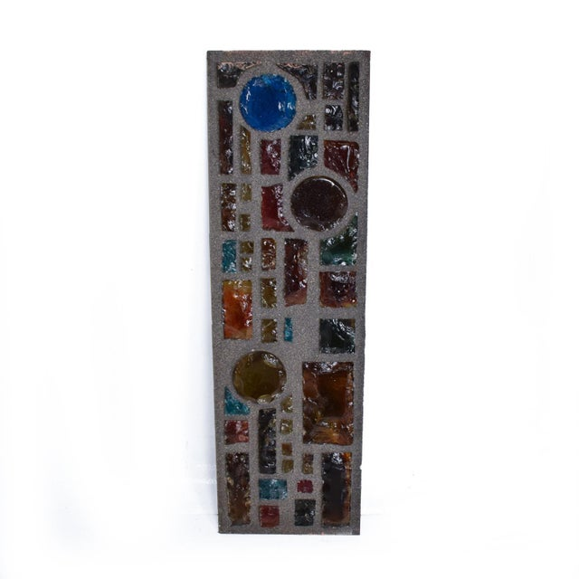 Brutalist Period Architectural Wall Art Colored Glass Panel For Sale - Image 10 of 10