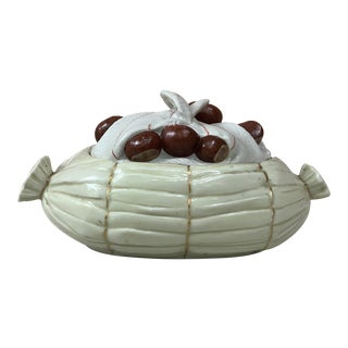 Porcelain Trompe l'Oeil Chestnut Tureen Mehun Circa 1930 For Sale