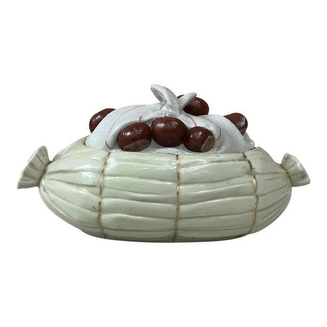 Porcelain Trompe l'Oeil Chestnut Tureen Mehun Circa 1930 For Sale
