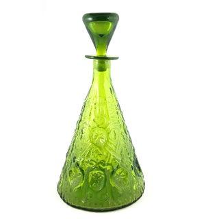 1960s Blenko Olive Green Art Glass Decanter & Stopper For Sale
