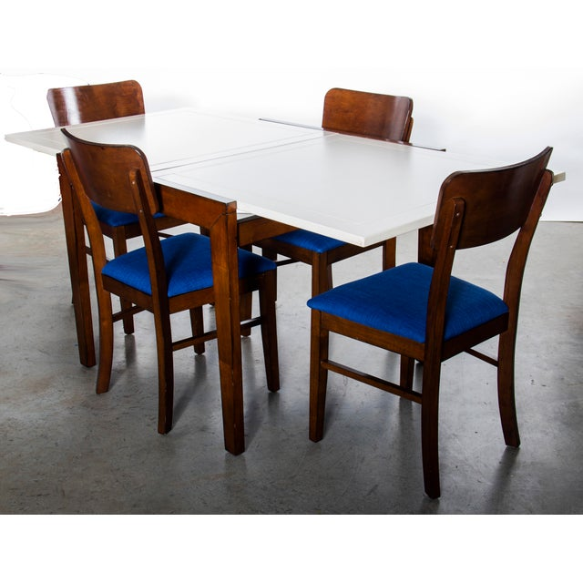 Contemporary Wood Dining Table and Chairs Set For Sale - Image 10 of 10
